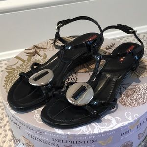 Patent leather Prada sandals with silver hardware